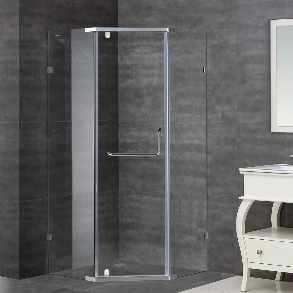 Aston 36-Inch  x 36-Inch  x 75-Inch  Neo-Angle Semi-Frameless Shower Stall in Stainless Steel