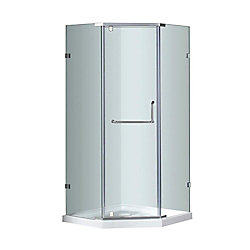 Aston 38-Inch  x 38-Inch  Neo-Angle Semi-Frameless Shower Stall in Stainless Steel
