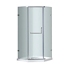 38-Inch  x 38-Inch  Neo-Angle Semi-Frameless Shower Stall in Stainless Steel