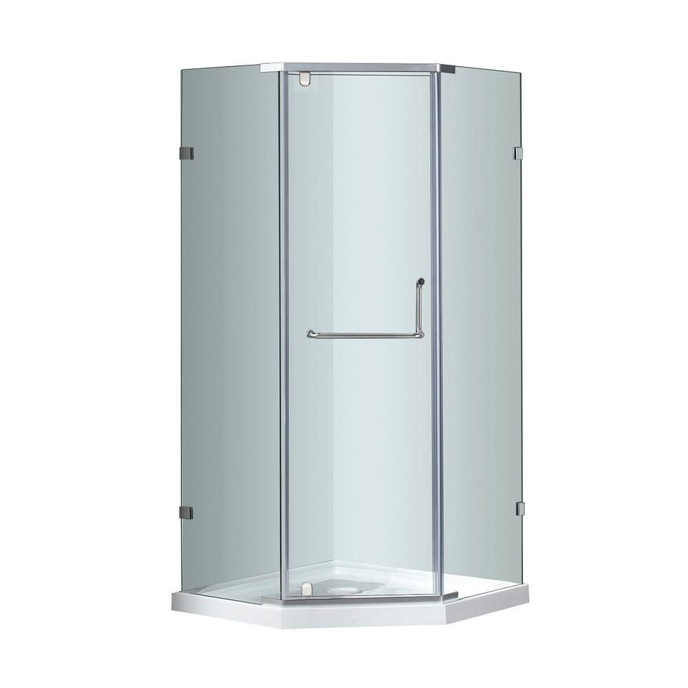 Aston 38-Inch  x 38-Inch  x 77 1/2-Inch  Neo-Angle Semi-Frameless Shower Stall in Stainless Steel