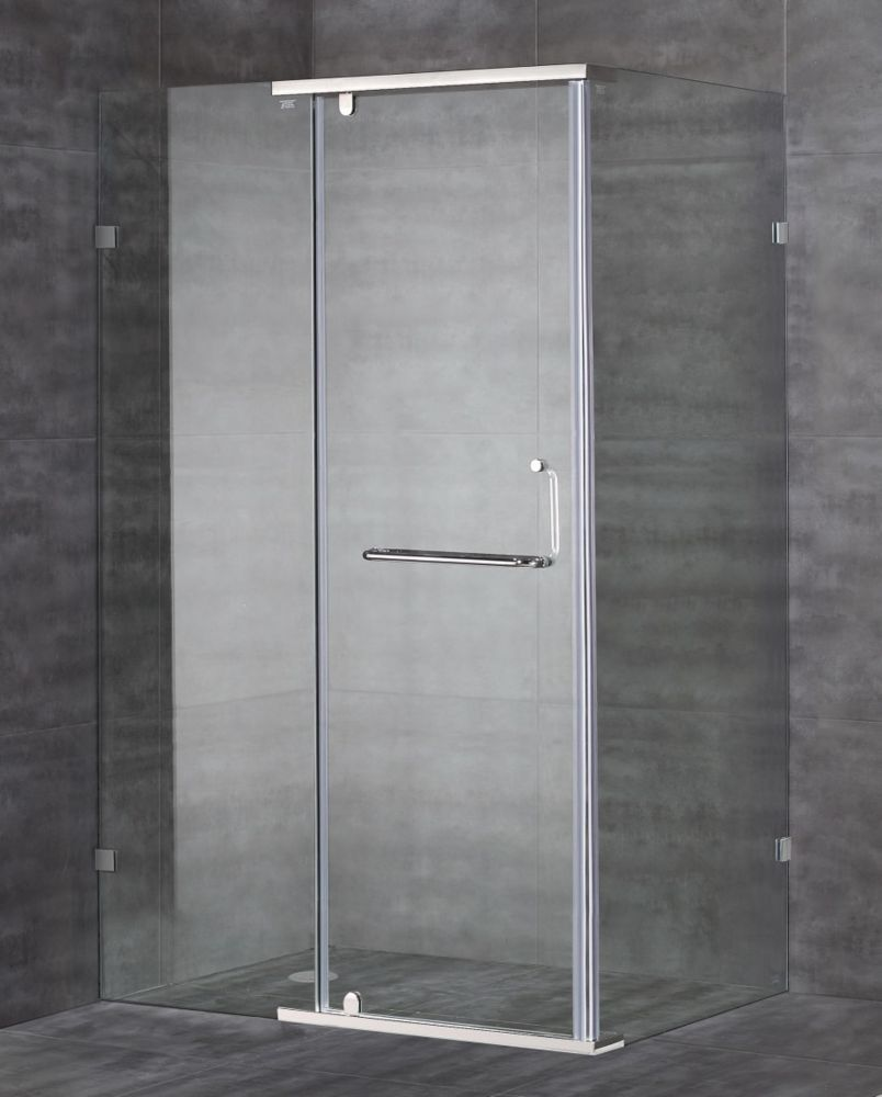 Aston 48-Inch  x 35-Inch  x 75-Inch  Semi-Frameless Shower Stall in Stainless Steel