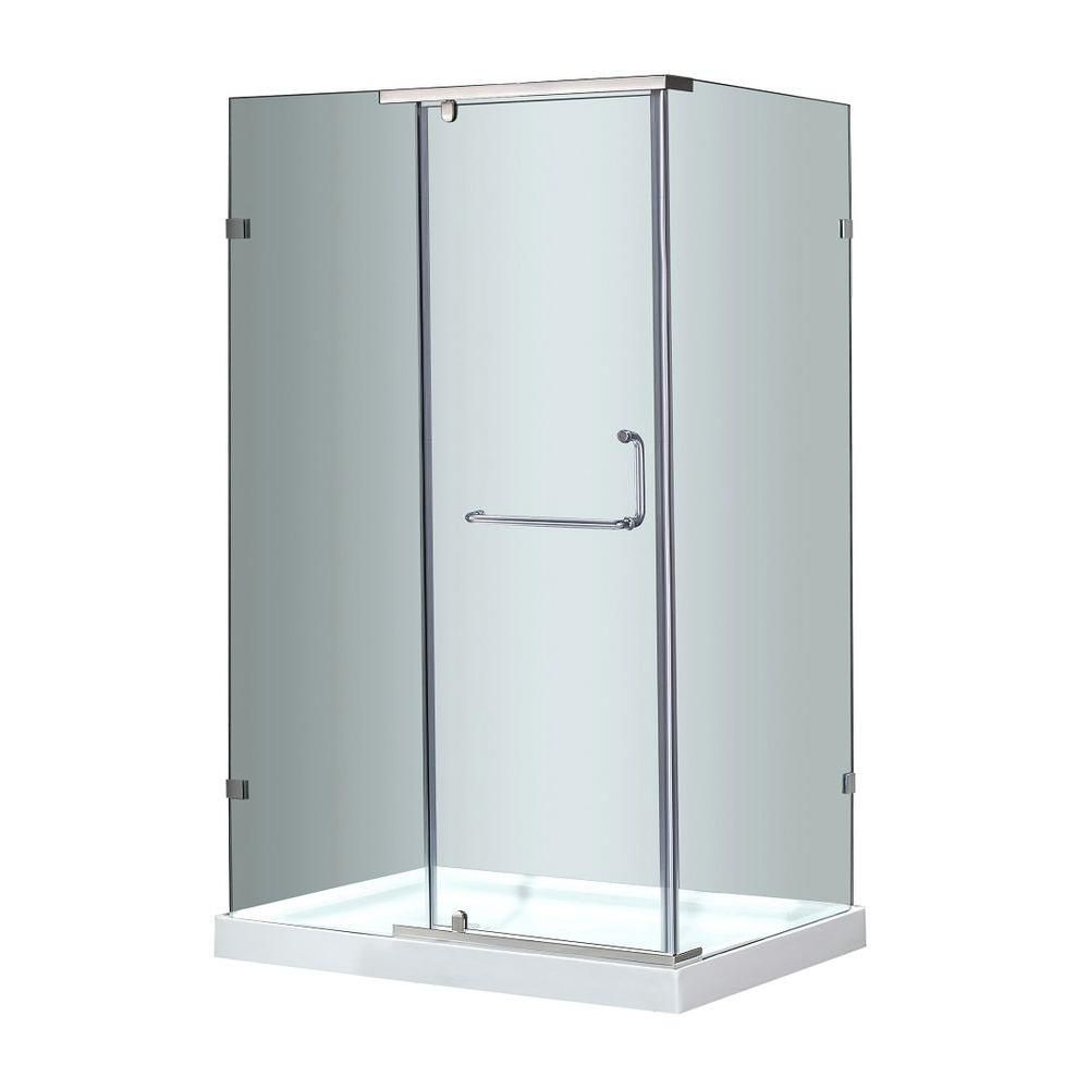 60 In. x 35 In. Semi-Frameless Shower Enclosure in Stainless Steel SEN975-SS-60-10 Canada Discount