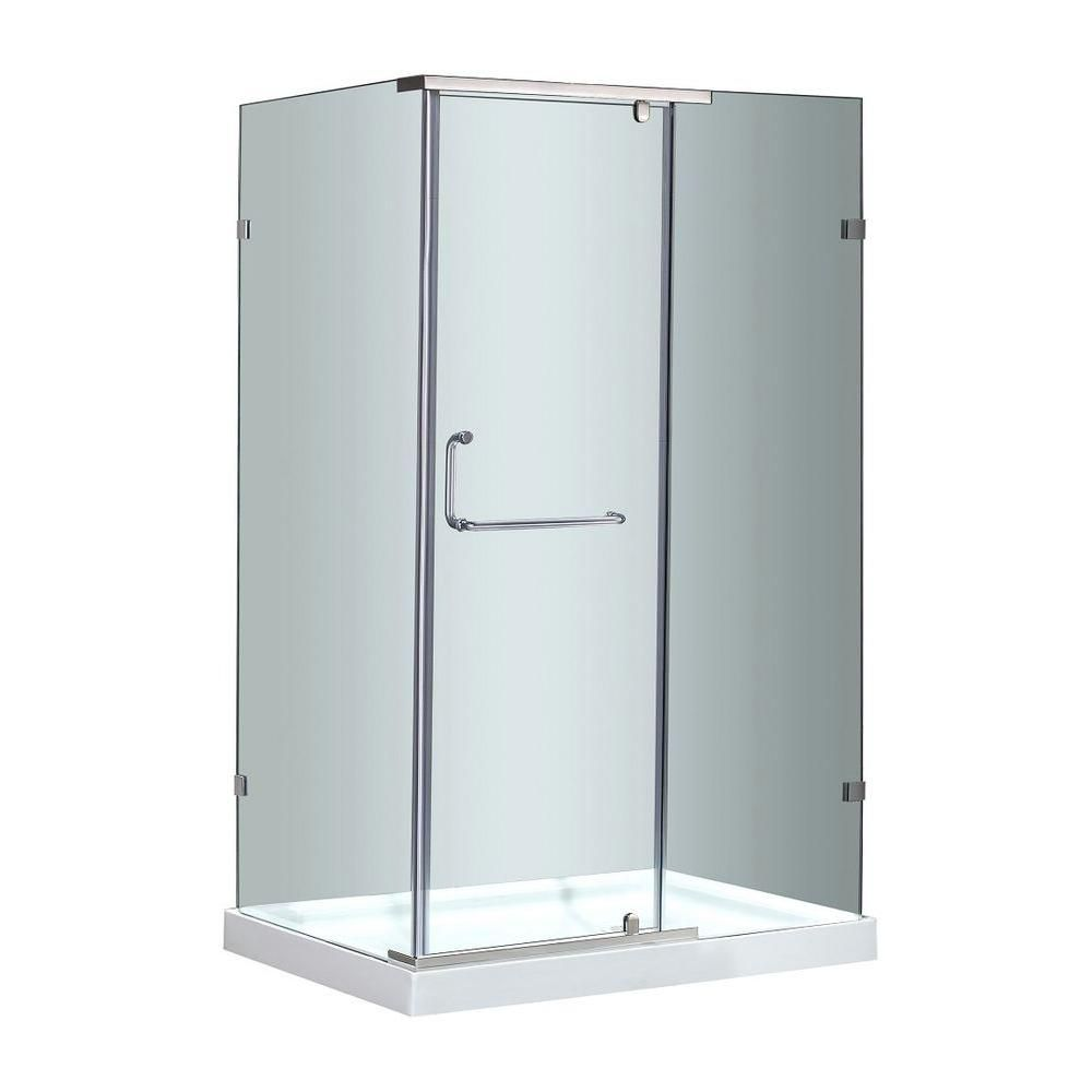 Aston 48-Inch  x 35-Inch  x 77 1/2-Inch  Semi-Frameless Shower Stall in Stainless Steel