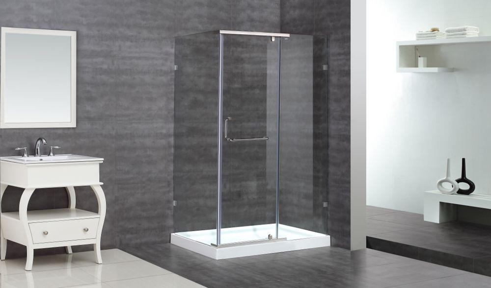 48-Inch  x 35-Inch  x 77 1/2-Inch  Semi-Frameless Shower Stall in Stainless Steel