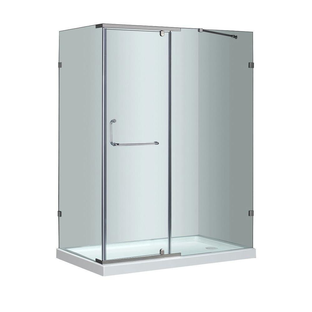 60 po x 35 po cabine de douche semi-sans cadre en Acier Inoxydable avec Base de douche driote