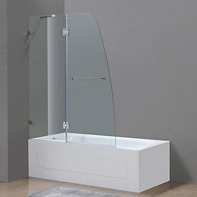 48 Inch Tub Shower. Soleil 48 inch x 58 Frameless Pivot Tub Shower Door in Stainless Steel Aston
