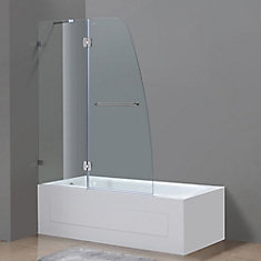 Soleil 48 Inch X 58 Frameless Pivot Tub Shower Door