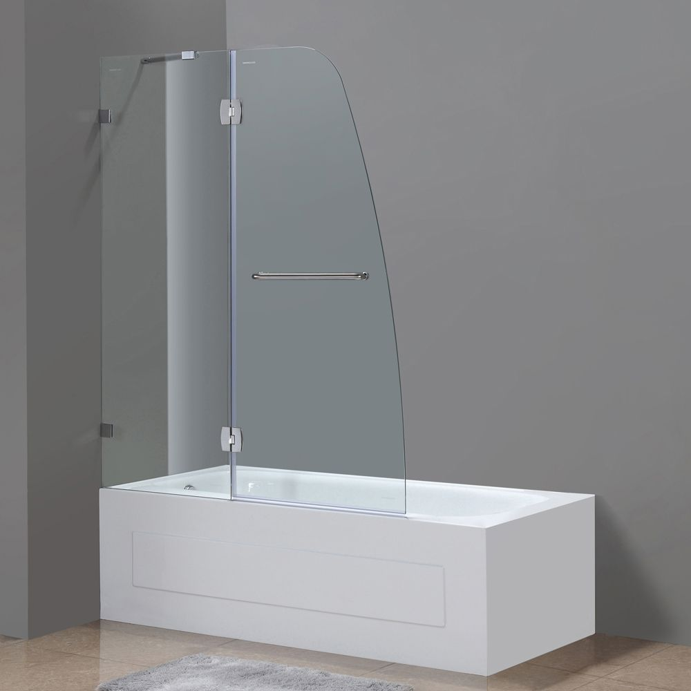Soleil 48 Inch X 58 Inch Frameless Pivot Tub/Shower Door In Stainless