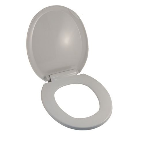 Jag Plumbing Products Universal Round Front Bowl Toilet Seat in White with Slow Close Hinges