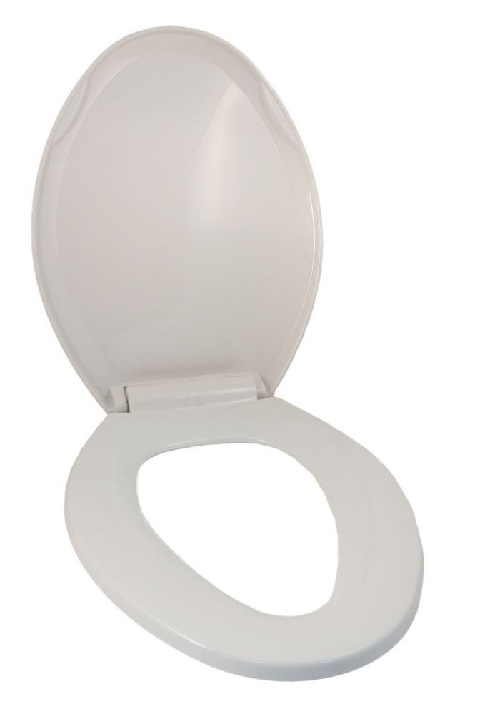 Siège de toilette blanc a forme universel: s'adapte sur la plupart des toilettes allongées avec c...