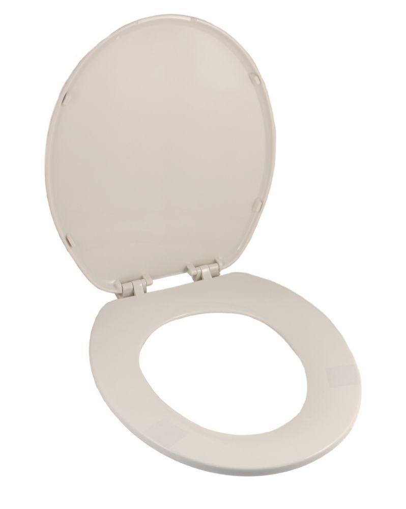 Siège de toilette blanc a forme universel: s'adapte sur la plupart des toilettes bol rond