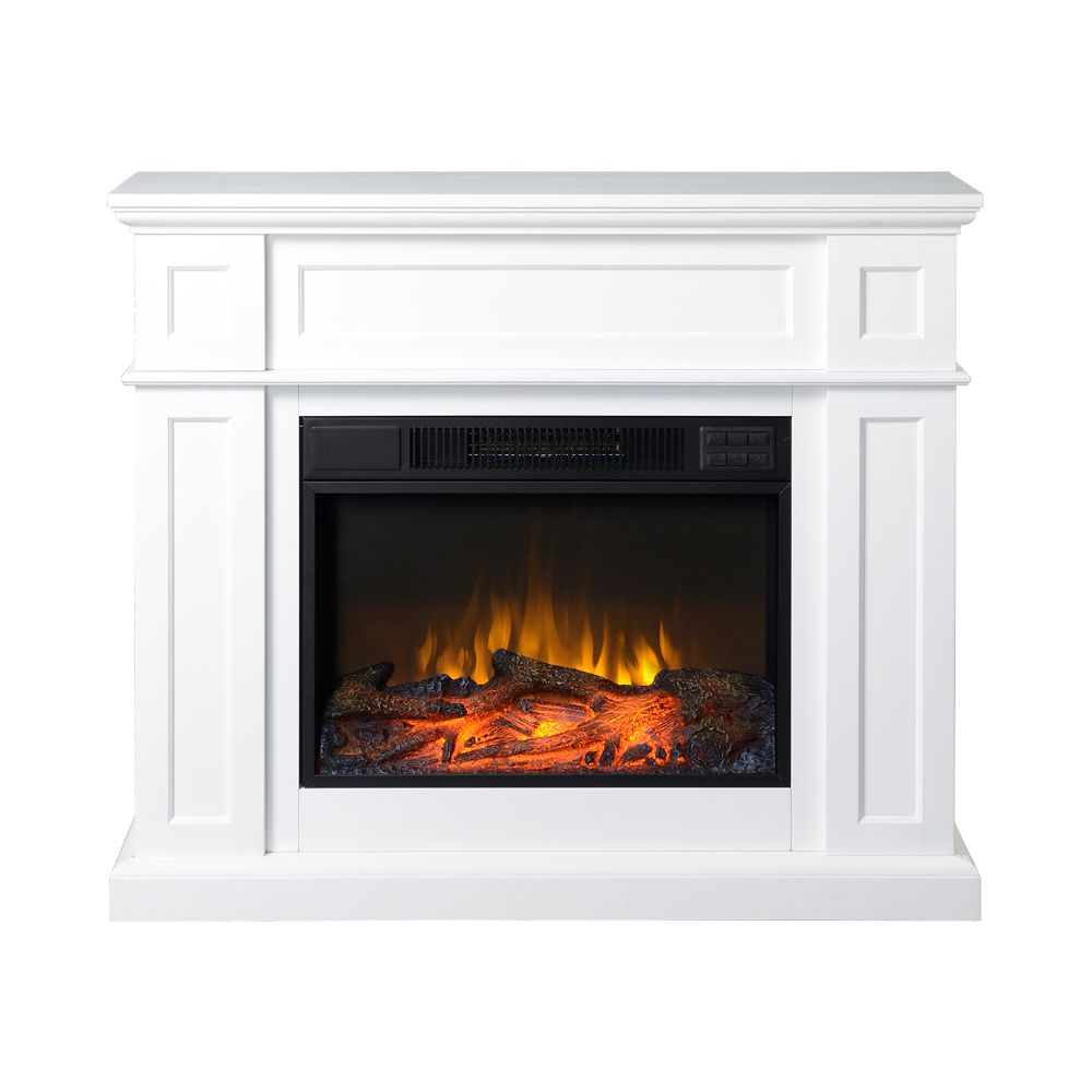 flamelux 41inch wide electric fireplace mantel in white