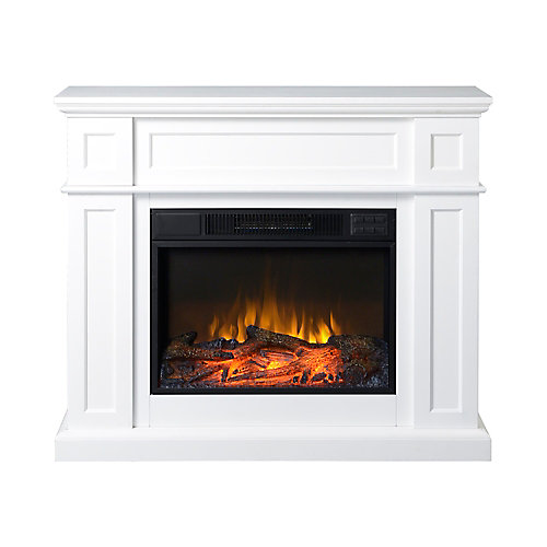 Flamelux 41Inch Wide Electric Fireplace Mantel in White | The Home ...
