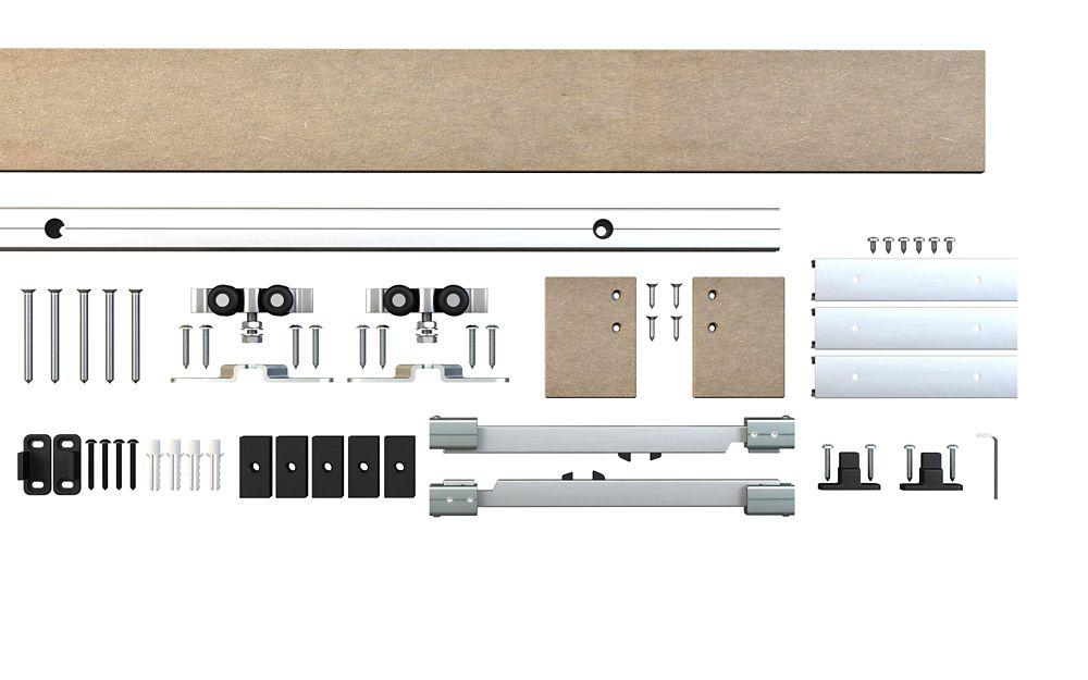 Système de rail dissimulé décoratif pour porte coulissante - style traditionnel