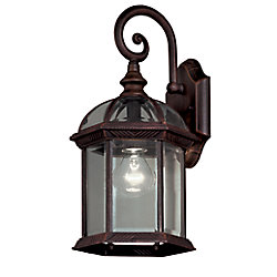 Hampton Bay 1-Light Weathered Bronze Outdoor Wall Lantern with Clear Bevelled Glass Shades
