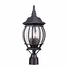 3-Light Outdoor Post Lantern in Black