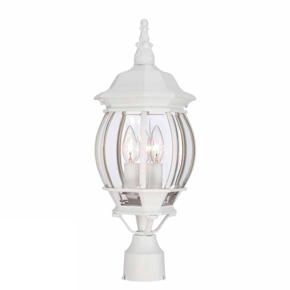 3-Light Outdoor Black Post Lantern