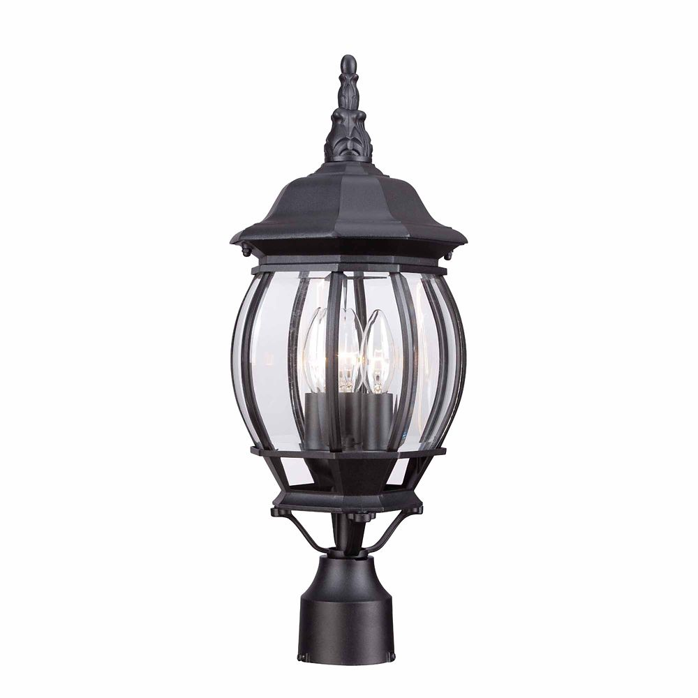 Hampton Bay 60W 3-Light Black Outdoor Post Lantern with Clear Bevelled Glass