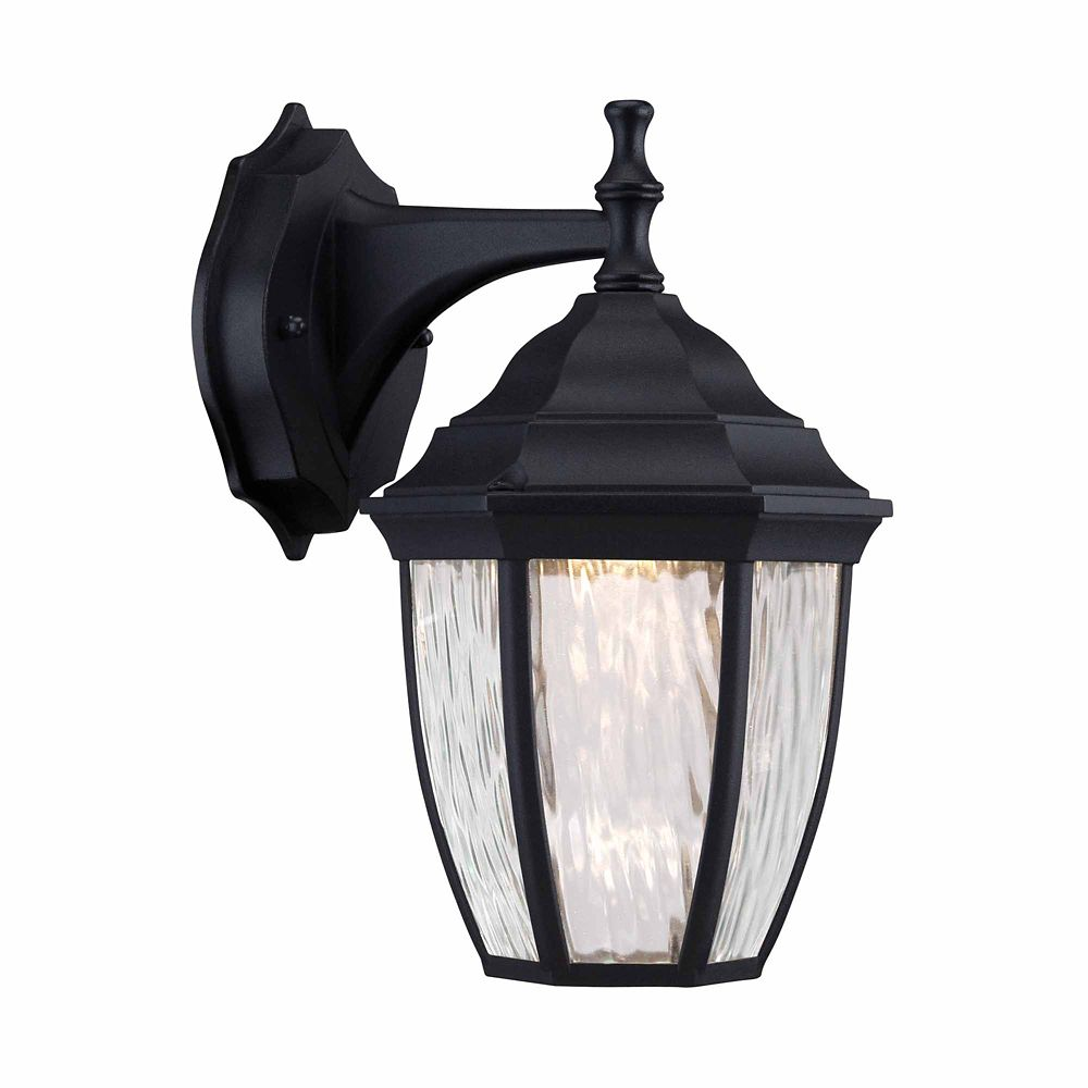 1-Light Black Integrated LED Outdoor Wall Lantern with Water Glass - ENERGY STAR®