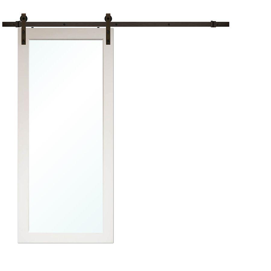 Porte grange moderne 1-lite rustique en pin avec matériel bronze (6.6 pi.)