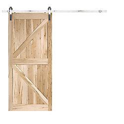 TRUporte Rustic Country Maple K Barn Door Satin Nickel Bent Strap (6.6 ft.)