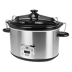 Kalorik 8L Digital Slow Cooker with Locking Lid in Stainless Steel