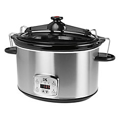 8L Digital Slow Cooker with Locking Lid in Stainless Steel