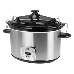 Kalorik 8L Digital Slow Cooker with Locking Lid in Stainless Steel