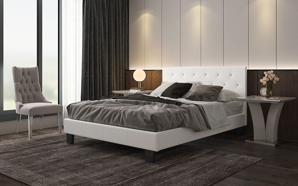 Glitz Queen Platform Bed - White