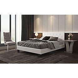 Worldwide Homefurnishings Inc. Glitz Queen Platform Bed with Tufted Headboard in White