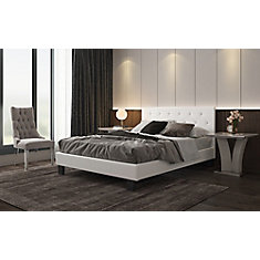 Glitz Queen Platform Bed with Tufted Headboard in White