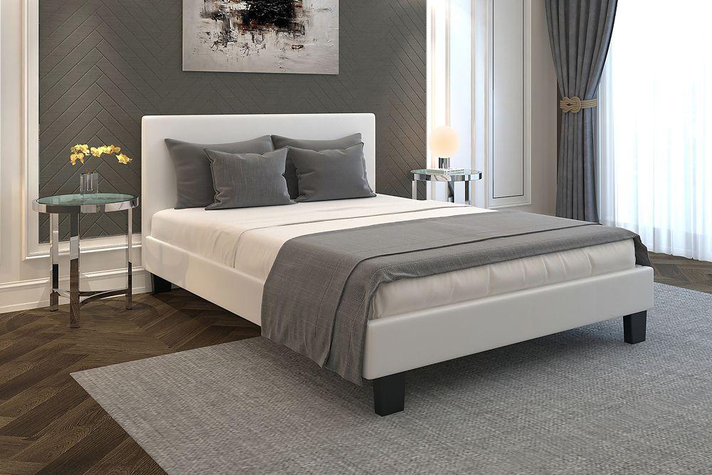 Volt Double Platform Bed - White