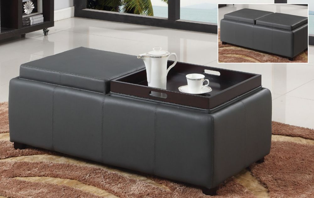 Manhattan II-Double Tray Ottoman-Grey