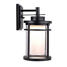 Raisfeld 1-Light Medium Black Integrated LED Outdoor Wall Lantern with Frosted Glass Shade