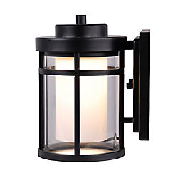 Home Decorators Collection Raisfeld 1-Light Small Integrated LED Outdoor Wall Lantern in Black with Frosted Glass Shade