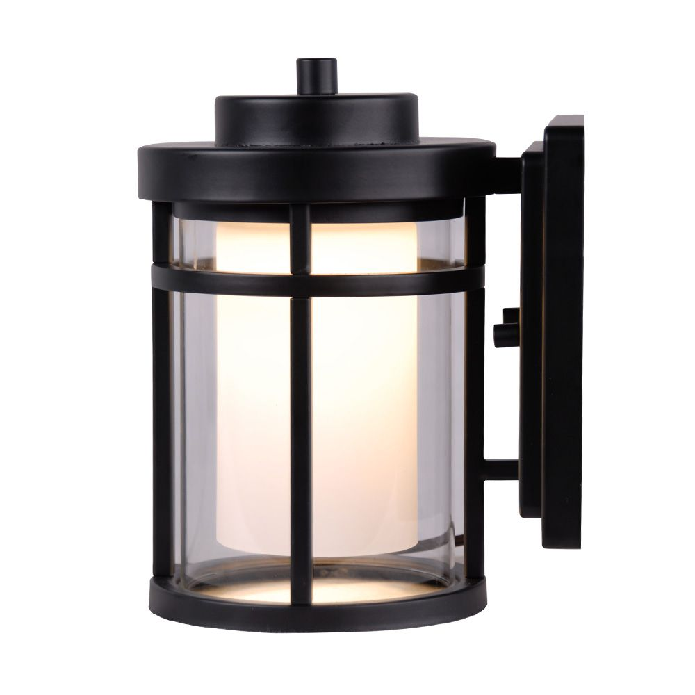 Home Decorators Collection Raisfeld 1-Light Small Black Integrated LED Outdoor Wall Lantern with Frosted Glass Shade