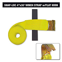 "SLTHF430YI Winch Strap 4""x30' w/Flat Hook, Yellow"