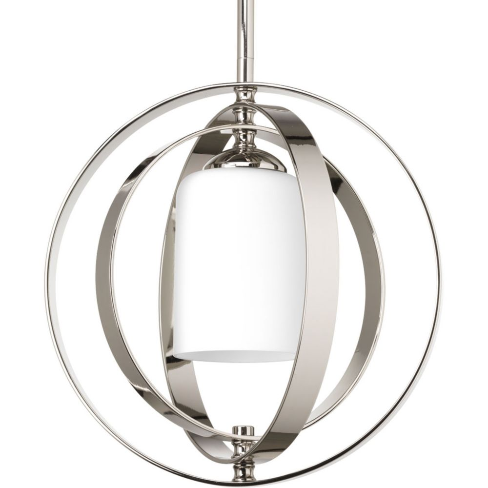 Equinox Collection 1-Light Polished Nickel Pendant