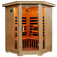 3-Person Hemlock Corner Infrared Sauna with 7 Carbon Heaters
