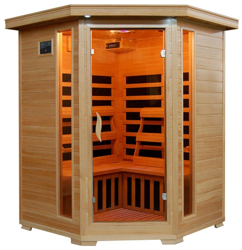 Sauna infrarouge Hemlock trois places à sept éléments chauffants de céramique