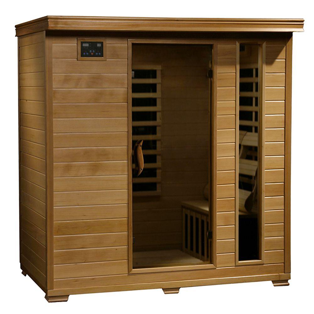 Sauna infrarouge Hemlock quatre places à neuf éléments chauffants de carbone