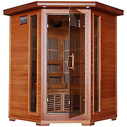 Radiant Sauna en cèdre infrarouge de coin pour 3 personnes avec 7 radiateurs au carbone