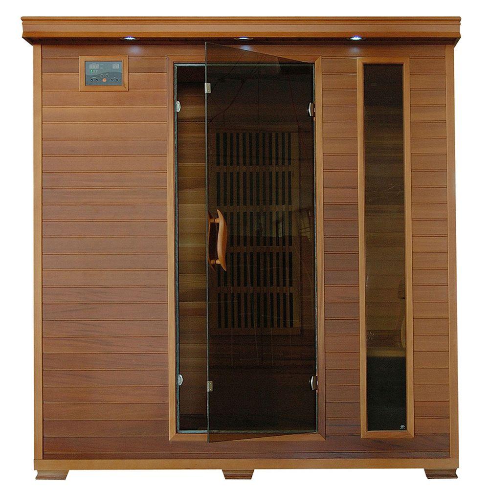 Sauna infrarouge en thuya quatre places à neuf éléments chauffants de carbone