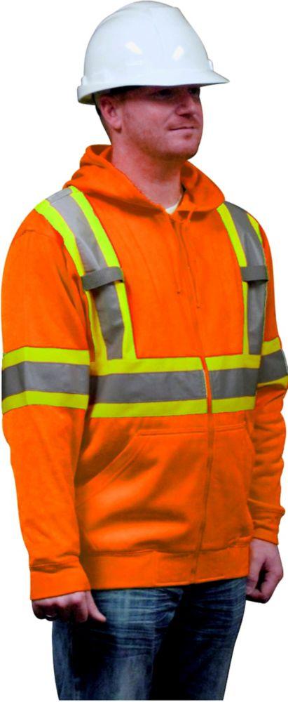 Hooded Fleece Sweatshirt Orange Medium