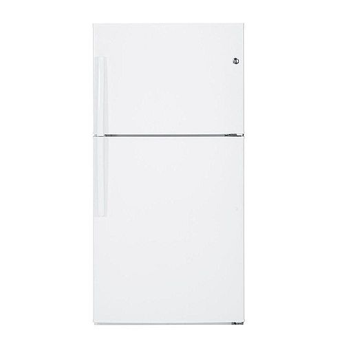 GE 33-inch W 21.2 cu. ft. Top Freezer Refrigerator in White - ENERGY STAR®