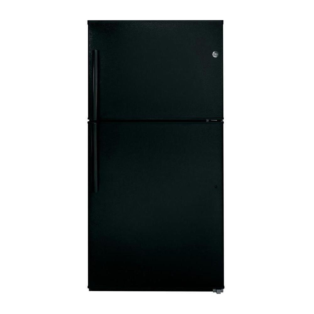 GE 33-inch W 21.2 cu. ft. Top Freezer Refrigerator in Black - ENERGY STAR®