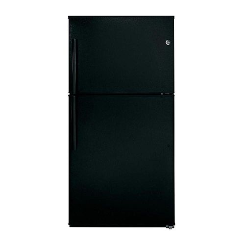 GE 33-inch W 21.2 cu. ft. Top Freezer Refrigerator in Black - ENERGY STAR®