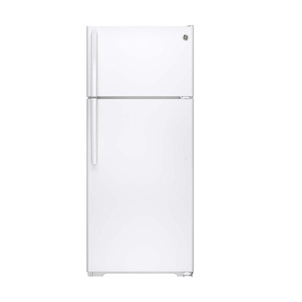 GE 28-inch W 17.5 cu. ft. Top Freezer Refrigerator in White - ENERGY STAR®