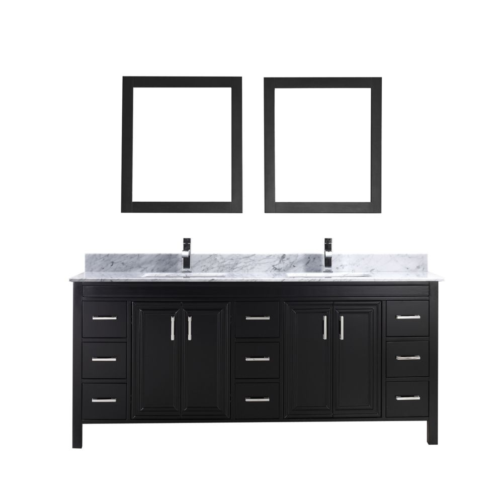 Corniche 75-inch W Vanity in Espresso with Marble Top in Carrara with Porcelain Basin and Mirror
