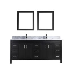 Art Bathe Corniche 75-inch W 9-Drawer 4-Door Vanity in Black With Marble Top in Grey, Double Basins
